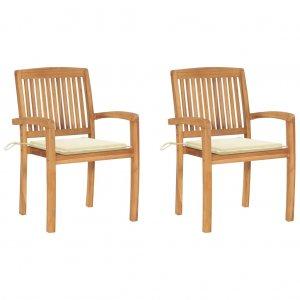 Καρέκλες Κήπου 2 τεμ. από Μασίφ Ξύλο Teak με Κρεμ Μαξιλάρια