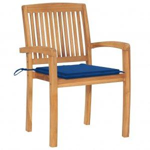 Καρέκλες Κήπου 2 τεμ. από Μασίφ Ξύλο Teak με Μπλε Μαξιλάρια