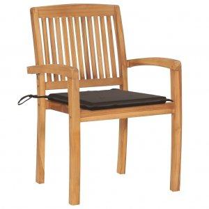 Καρέκλες Κήπου 2 τεμ. από Μασίφ Ξύλο Teak με Taupe Μαξιλάρια