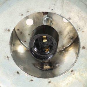 Φωτιστικό Κρεμαστό Ασημί από Σίδηρο και Μασίφ Ξύλο Μάνγκο Ε27