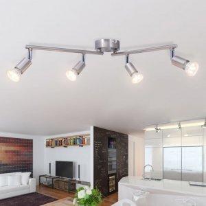 Φωτιστικό Οροφής Ράγα με 4 Σποτ LED Σατέν Νίκελ