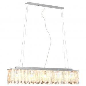 Φωτιστικό Οροφής Ασημί με Κρυστάλλινες Χάντρες 104 εκ. Ε14