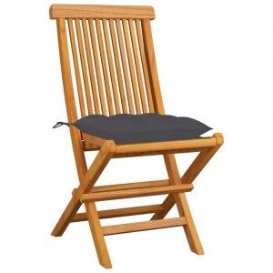 Καρέκλες Κήπου 4 τεμ. από Μασίφ Ξύλο Teak με Ανθρακί Μαξιλάρια