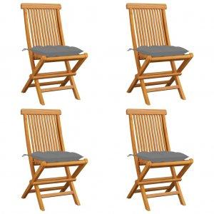 Καρέκλες Κήπου 4 τεμ. από Μασίφ Ξύλο Teak με Γκρι Μαξιλάρια