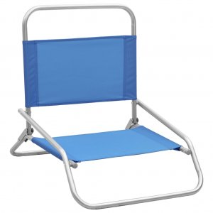 Καρέκλες Παραλίας Πτυσσόμενες 2 τεμ. Μπλε Υφασμάτινες