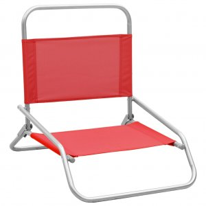 Καρέκλες Παραλίας Πτυσσόμενες 2 τεμ. Κόκκινες Υφασμάτινες