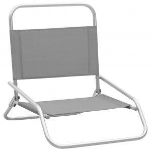 Καρέκλες Παραλίας Πτυσσόμενες 2 τεμ. Γκρι Υφασμάτινες