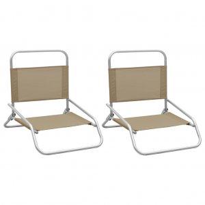 Καρέκλες Παραλίας Πτυσσόμενες 2 τεμ. Taupe Υφασμάτινες
