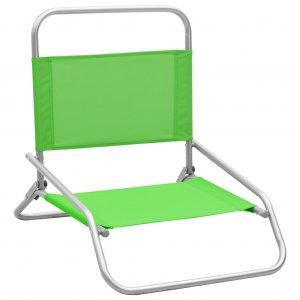 Καρέκλες Παραλίας Πτυσσόμενες 2 τεμ. Πράσινες Υφασμάτινες