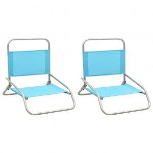 Καρέκλες Παραλίας Πτυσσόμενες 2 τεμ. Τιρκουάζ Υφασμάτινες
