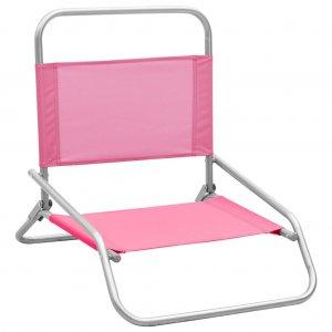 Καρέκλες Παραλίας Πτυσσόμενες 2 τεμ. Ροζ Υφασμάτινες