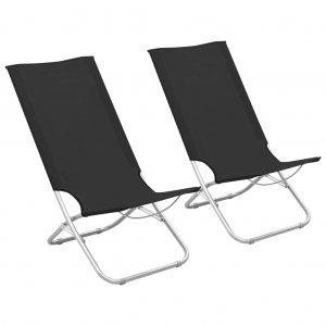 Καρέκλες Παραλίας Πτυσσόμενες 2 τεμ. Μαύρες Υφασμάτινες