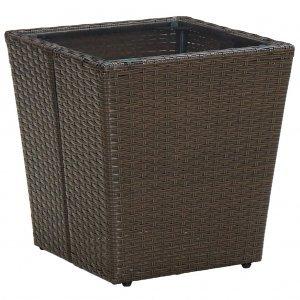 Τραπέζι Βοηθητικό Καφέ 41,5x41,5x44 εκ. Συνθ.Ρατάν/Ψημένο Γυαλί