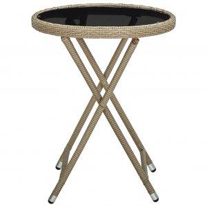 Τραπέζι Βοηθητικό Μπεζ 60 εκ. Συνθετικό Ρατάν / Ψημένο Γυαλί