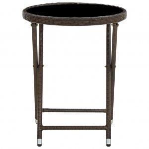 Τραπέζι Βοηθητικό Καφέ 60 εκ. Συνθετικό Ρατάν / Ψημένο Γυαλί
