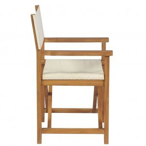 Καρέκλα Σκηνοθέτη Πτυσσόμενη Λευκό Κρεμ από Μασίφ Ξύλο Teak