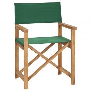 Καρέκλα Σκηνοθέτη Πτυσσόμενη Πράσινη από Μασίφ Ξύλο Teak