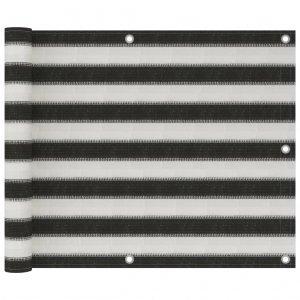 Διαχωριστικό Βεράντας Ανθρακί και Λευκό 75 x 300 εκ. από HDPE