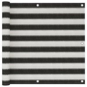 Διαχωριστικό Βεράντας Ανθρακί και Λευκό 90 x 500 εκ. από HDPE