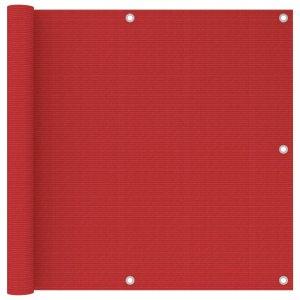 Διαχωριστικό Βεράντας Κόκκινο 90 x 500 εκ. από HDPE