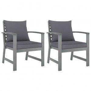 Καρέκλες Κήπου 2 τεμ. από Μασίφ Ξύλο Ακακίας Σκ. Γκρι Μαξιλάρια