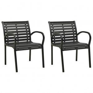 Καρέκλες Κήπου 2 τεμ. Μαύρες από Ατσάλι / WPC