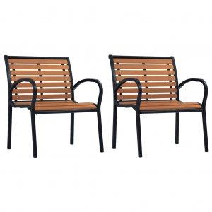 Καρέκλες Κήπου 2 τεμ. Μαύρο / Καφέ από Ατσάλι / WPC