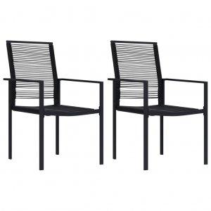 Καρέκλες Κήπου 2 τεμ. Μαύρες από Ρατάν PVC