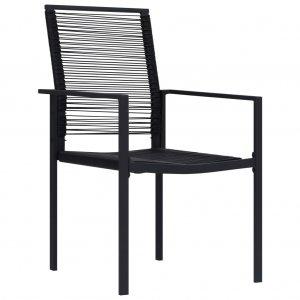 Καρέκλες Kήπου 4 τεμ. Μαύρες από Ρατάν PVC