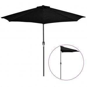 Ομπρέλα Βεράντας Ημικυκλική Μαύρη 270x135x245 εκ. Ιστός Αλουμ.