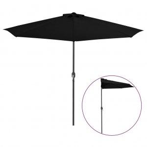 Ομπρέλα Βεράντας Ημικυκλική Μαύρη 300x150x253 εκ. Ιστός Αλουμ.