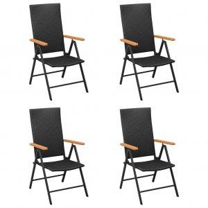 Καρέκλες Εξωτερικού Χώρου 4 τεμ. Μαύρες από Συνθετικό Ρατάν