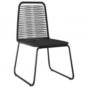 Καρέκλες Εξωτερικού Χώρου 4 τεμ. Μαύρες Συνθετικό Ρατάν
