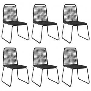 Καρέκλες Εξωτερικού Χώρου 6 τεμ. Μαύρες Συνθετικό Ρατάν