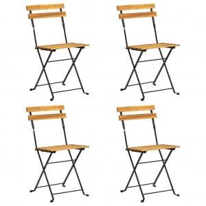 Καρέκλες Bistro Πτυσσόμενες 4 τεμ. από Μασίφ Ξύλο Ακακίας
