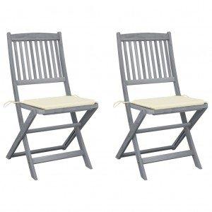 Καρέκλες Εξ. Χώρου Πτυσσόμενες 2 τεμ. Ξύλο Ακακίας & Μαξιλάρια