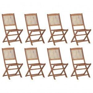 Καρέκλες Εξ. Χώρου Πτυσσόμενες 8 τεμ. Ξύλο Ακακίας & Μαξιλάρια