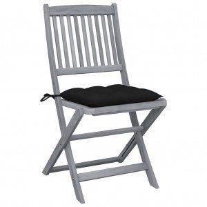 Καρέκλες Εξ. Χώρου Πτυσσόμενες 6 τεμ. Ξύλο Ακακίας & Μαξιλάρια