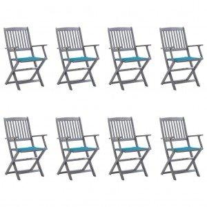 Καρέκλες Εξ. Χώρου Πτυσσόμενες 8 τεμ. Ξύλο Ακακίας με Μαξιλάρια