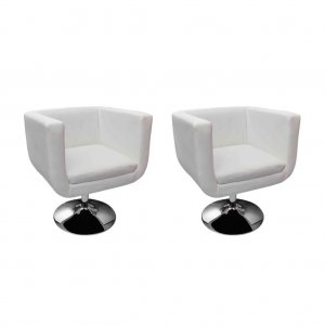 Καρέκλες Μπαρ 2 τεμ. Λευκές από Συνθετικό Δέρμα