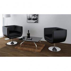 Καρέκλες Μπαρ 2 τεμ. Μαύρες από Συνθετικό Δέρμα