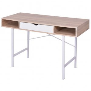 Γραφείο με 1 Συρτάρι Χρώμα Δρυς και Λευκό