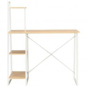 Γραφείο με Ράφια Λευκό / Χρώμα Δρυός 102 x 50 x 117 εκ.