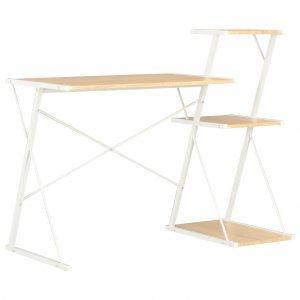 Γραφείο με Ράφια Λευκό / Χρώμα Δρυός 116 x 50 x 93 εκ.
