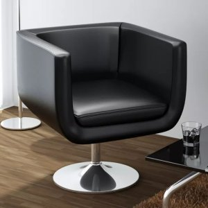 Καρέκλα Μπαρ Μαύρη από Συνθετικό Δέρμα