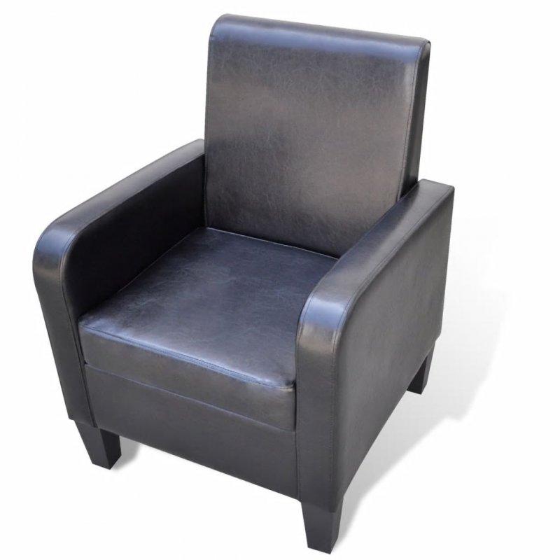 Πολυθρόνα Μαύρη από Συνθετικό Δέρμα   Echo Deco