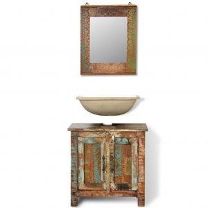 Ντουλάπι μπάνιου Ανακυκλωμένο μασίφ ξύλο Σετ με καθρέφτη