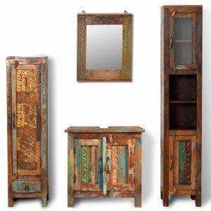 Ντουλάπι μπάνιου Ανακυκ. ξύλο Καθρέφτης & 2 πλαϊνά ντουλάπια