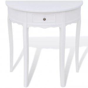 Κονσόλα Τραπέζι με Συρτάρι Ημικυκλική Λευκή