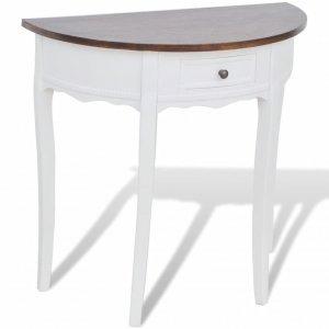 Κονσόλα Τραπέζι με Συρτάρι Ημικυκλική με Καφέ Επιφά&n